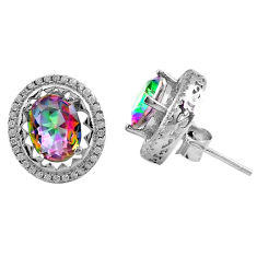 925 sterling silver 7.67cts multi color rainbow topaz white topaz earrings c4609