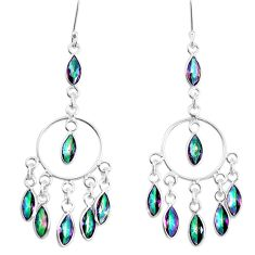 925 sterling silver 17.46cts multicolor rainbow topaz chandelier earrings p60564