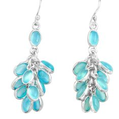925 sterling silver 23.13cts natural aqua chalcedony chandelier earrings p77407