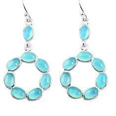 925 sterling silver 14.27cts natural aqua chalcedony dangle earrings p88384