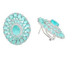 925 sterling silver 18.86cts natural aqua chalcedony topaz stud earrings c1847
