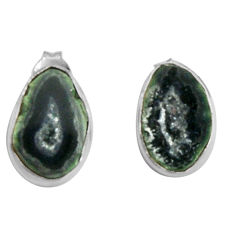 925 sterling silver 8.00cts natural black geode druzy dangle earrings d32458