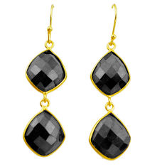 925 sterling silver 20.03cts natural black onyx 14k gold dangle earrings p50095