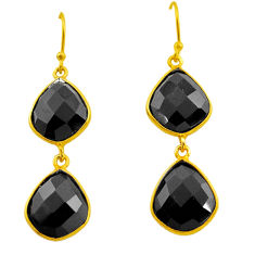 925 sterling silver 20.03cts natural black onyx 14k gold dangle earrings p75208