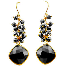925 sterling silver 20.06cts natural black onyx 14k gold dangle earrings p75304