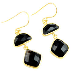 925 sterling silver 14.85cts natural black onyx 14k gold dangle earrings p75512