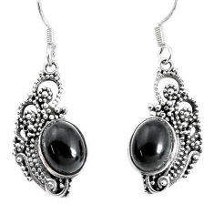 925 sterling silver 6.54cts natural black onyx dangle earrings jewelry p34411