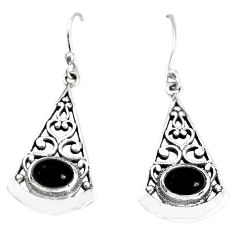 925 sterling silver 3.52cts natural black onyx dangle earrings jewelry p34414