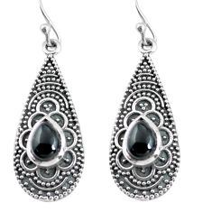925 sterling silver 3.67cts natural black onyx dangle earrings jewelry p63931