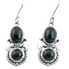 925 sterling silver 6.36cts natural black onyx dangle earrings jewelry p64994