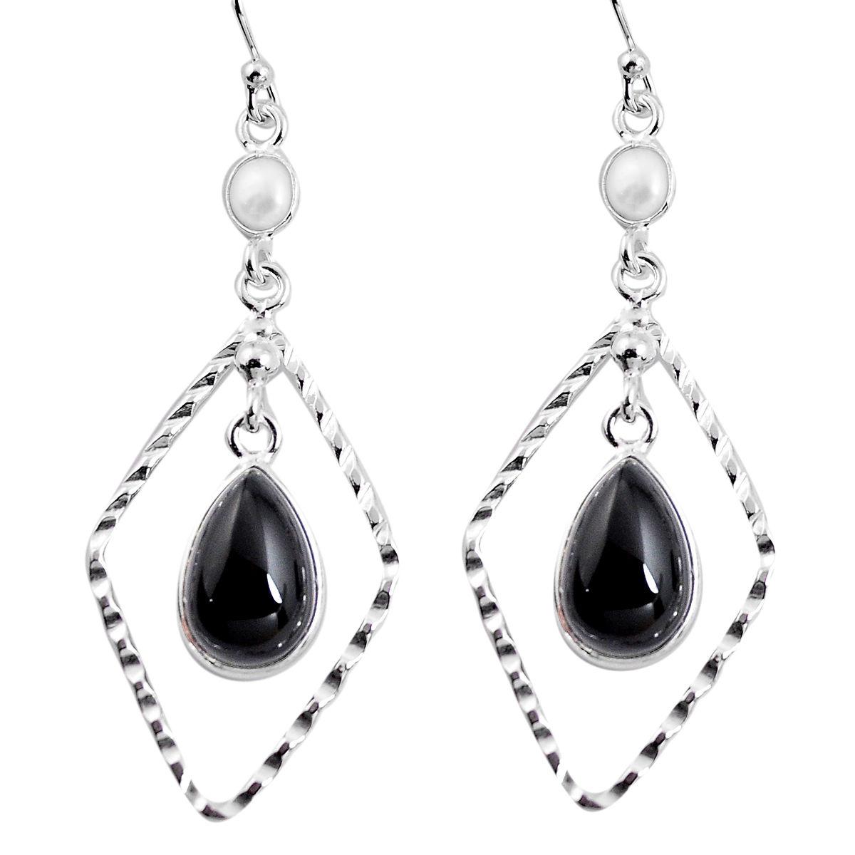 Cultured Pearl ET NOIR ONYX Marquise 925 Sterling Silver Dangle Boucles d/'oreilles