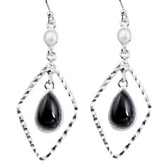 925 sterling silver 8.80cts natural black onyx pearl dangle earrings p92483