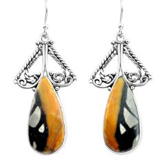 925 sterling silver 17.42cts natural black picasso jasper dangle earrings p72687