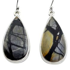 925 sterling silver 26.65cts natural black picasso jasper dangle earrings p88764