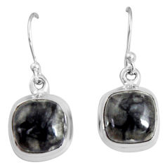 925 sterling silver 10.71cts natural black picasso jasper dangle earrings p89356