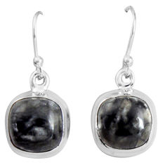 925 sterling silver 10.32cts natural black picasso jasper dangle earrings p89359
