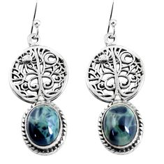 925 sterling silver 8.54cts natural black toad eye tree of life earrings p54844