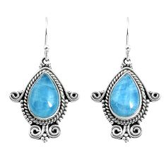 925 sterling silver 8.22cts natural blue aquamarine dangle earrings p52864