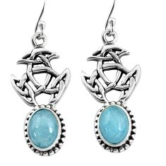 925 sterling silver 6.33cts natural blue aquamarine dangle earrings p60778