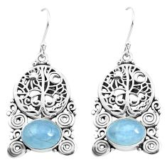 925 sterling silver 6.18cts natural blue aquamarine tree of life earrings p52253