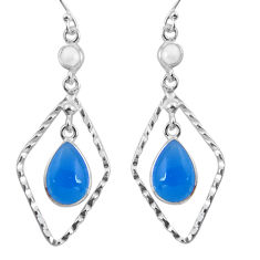925 sterling silver 9.12cts natural blue chalcedony pearl dangle earrings p89997
