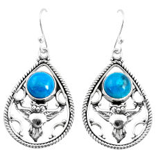 925 sterling silver 6.57cts natural blue chrysocolla owl earrings jewelry p52044