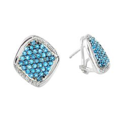 925 sterling silver 9.23cts natural blue diamond earrings jewelry c3956
