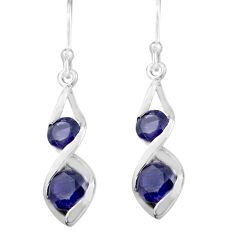 925 sterling silver 5.03cts natural blue iolite dangle earrings jewelry p82339