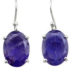 925 sterling silver 10.05cts natural blue iolite dangle earrings jewelry p84020