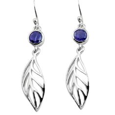 925 sterling silver 1.96cts natural blue iolite deltoid leaf earrings p84153