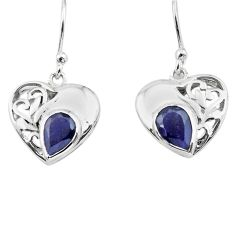 925 sterling silver 4.06cts natural blue iolite heart love earrings p73628