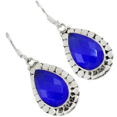 925 sterling silver natural blue jade pear shape dangle earrings jewelry h93556