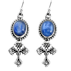 925 sterling silver 9.72cts natural blue kyanite holy cross earrings p54987