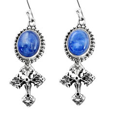 925 sterling silver 8.42cts natural blue kyanite holy cross earrings p60796