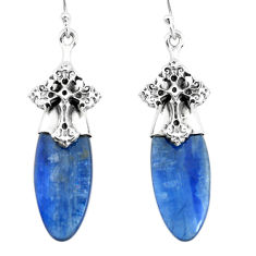 925 sterling silver 16.62cts natural blue kyanite holy cross earrings p66424