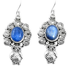 925 sterling silver 8.28cts natural blue kyanite owl earrings jewelry p52004
