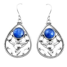 925 sterling silver 7.02cts natural blue kyanite owl earrings jewelry p52055