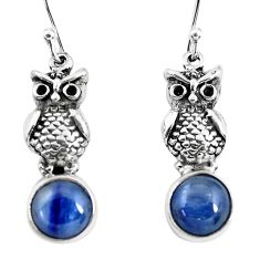 925 sterling silver 5.38cts natural blue kyanite owl earrings jewelry p54963