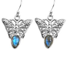 925 sterling silver 2.20cts natural blue labradorite butterfly earrings p84893