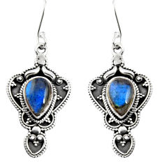 Clearance Sale- 925 sterling silver 6.46cts natural blue labradorite dangle earrings d32545