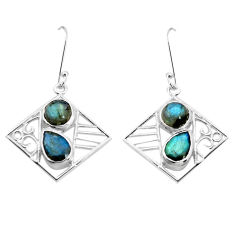 925 sterling silver 7.07cts natural blue labradorite dangle earrings p32520