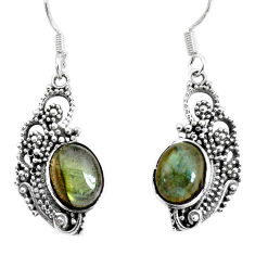 925 sterling silver 6.31cts natural blue labradorite dangle earrings p34449