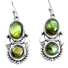 925 sterling silver 6.31cts natural blue labradorite dangle earrings p34474
