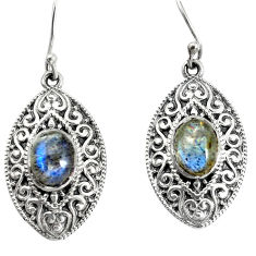 925 sterling silver 4.38cts natural blue labradorite dangle earrings p34500