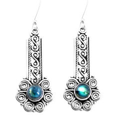 925 sterling silver 2.75cts natural blue labradorite dangle earrings p39237