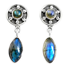 925 sterling silver 14.12cts natural blue labradorite dangle earrings p51517