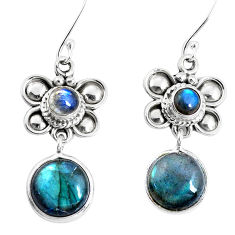 925 sterling silver 11.27cts natural blue labradorite dangle earrings p51544