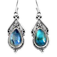 925 sterling silver 6.53cts natural blue labradorite dangle earrings p52780