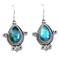 925 sterling silver 8.54cts natural blue labradorite dangle earrings p52880