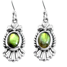 925 sterling silver 4.52cts natural blue labradorite dangle earrings p63938
